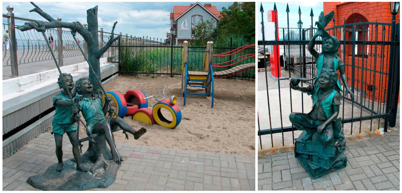 скульптуры веселых детей в Зеленоградске