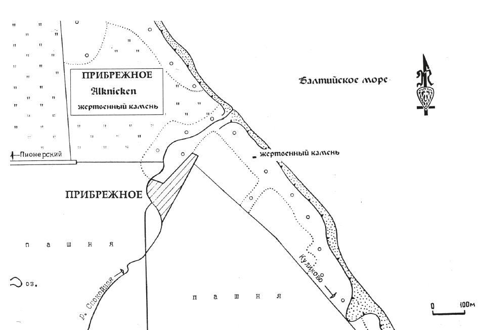 карта места жертвенного камня на балтийском море